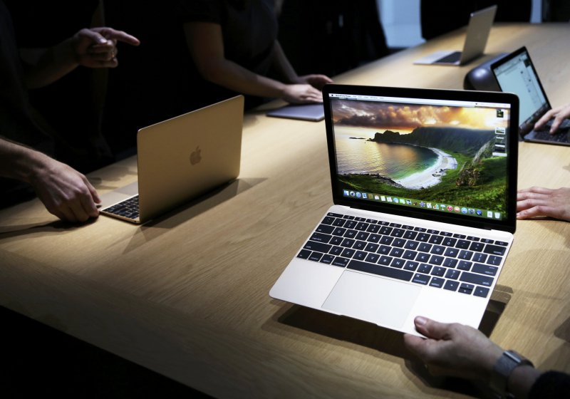 Apple's new MacBooks are displayed following an Apple event in San Francisco
